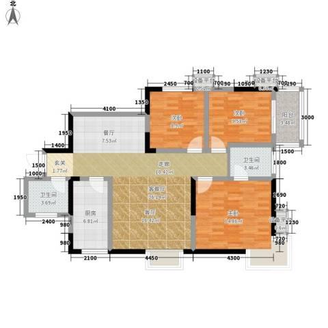 旺园大厦3室1厅2卫1厨120.00㎡户型图