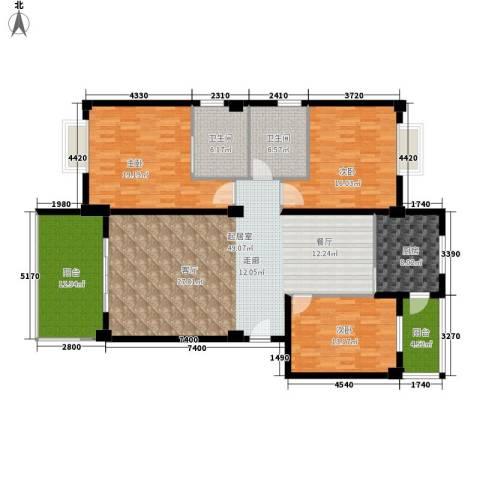 金色华庭3室0厅2卫1厨151.00㎡户型图