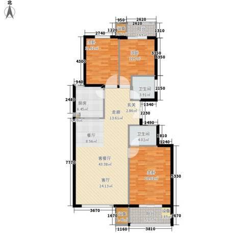 百合小筑3室1厅2卫1厨122.00㎡户型图