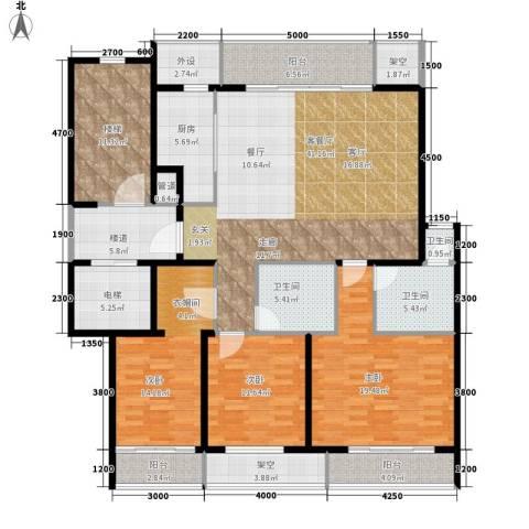 皇冠公寓3室1厅3卫1厨209.00㎡户型图