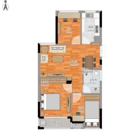 中兴久睦苑2室1厅2卫1厨86.00㎡户型图