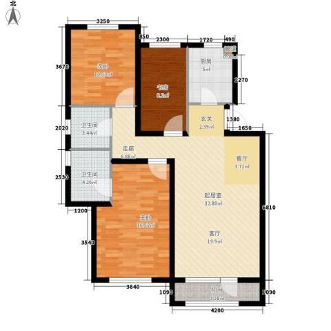 北辰新天地盛景湾3室0厅2卫1厨131.00㎡户型图