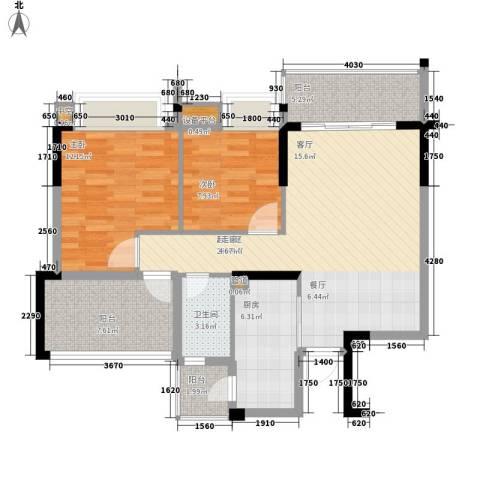 平湖秋月三期2室0厅1卫1厨89.00㎡户型图
