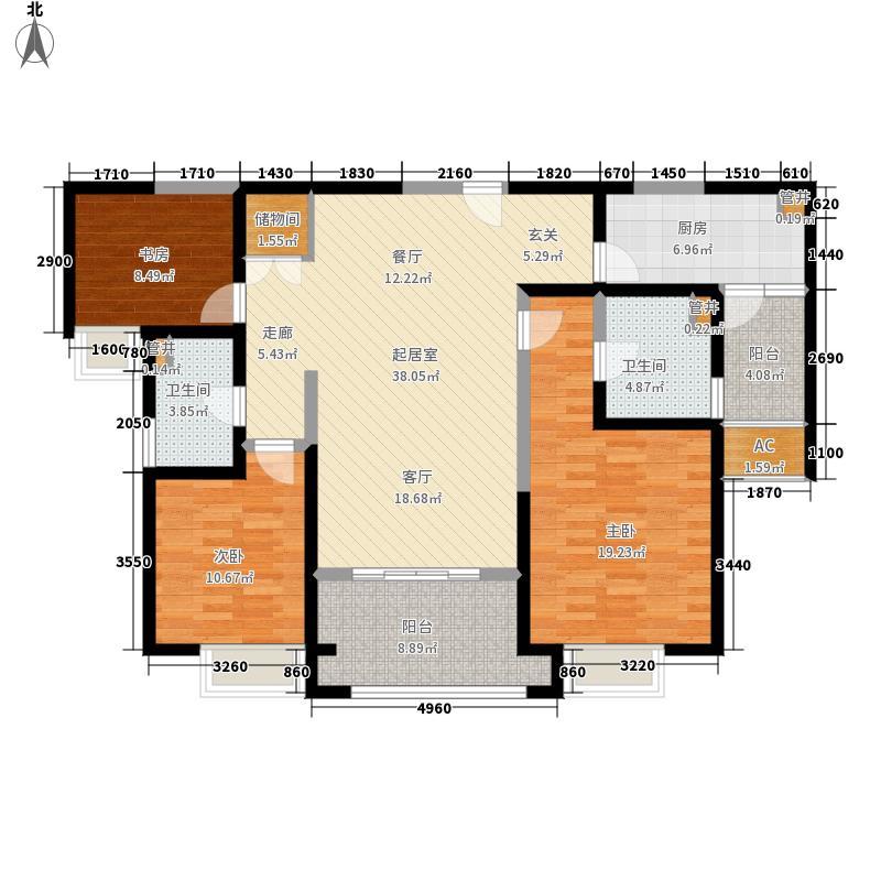 红豆人民路九号126.00㎡12#楼B户型3室2厅