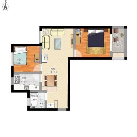 琴湖家园2室1厅1卫1厨79.00㎡户型图