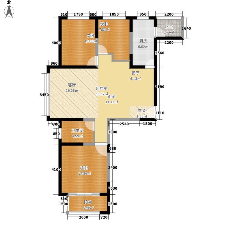 荣盛阿尔卡迪亚122.00㎡14+15-3三面积12200m户型