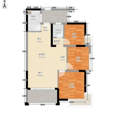 龙祥花园3室0厅1卫1厨108.00㎡户型图