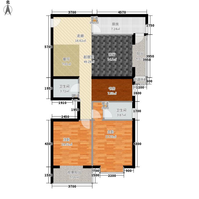 上东三角洲131.83㎡D5楼B面积13183m户型