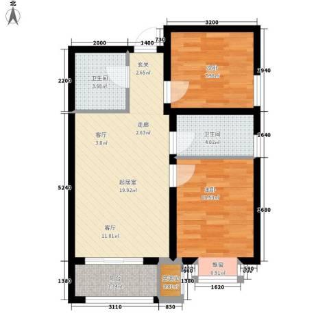 中谋壹品公馆2室0厅2卫0厨73.00㎡户型图