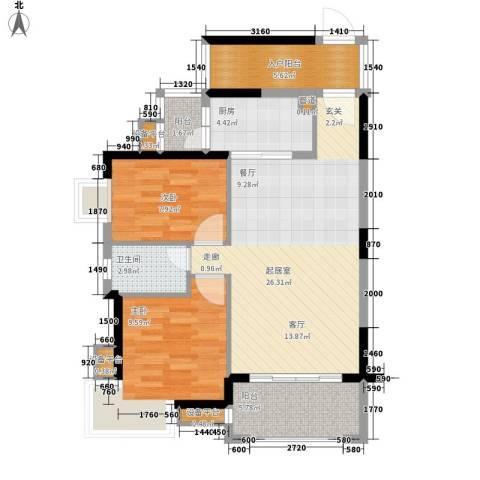 龙光・阳光海岸2室0厅1卫1厨95.00㎡户型图