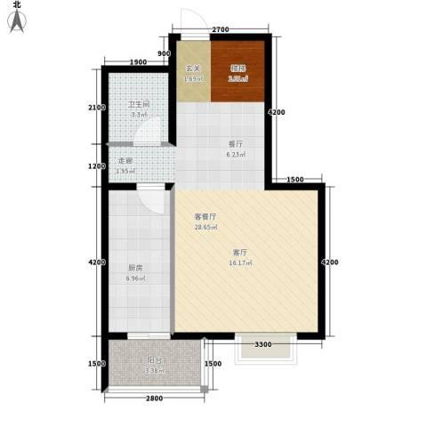 藏龙福地1厅1卫1厨113.00㎡户型图