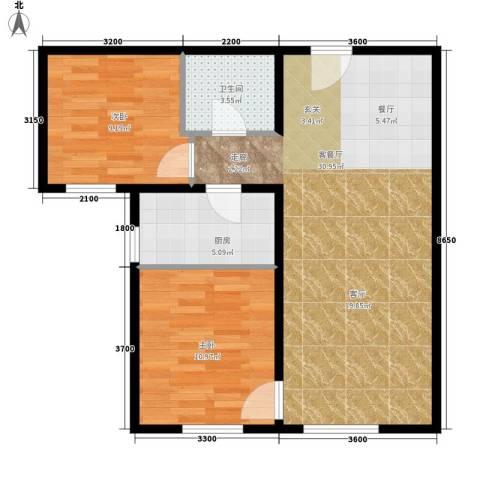 丽水花园2室1厅1卫1厨83.00㎡户型图