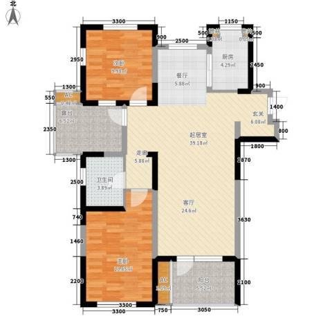 龙祥花园2室0厅1卫1厨122.00㎡户型图