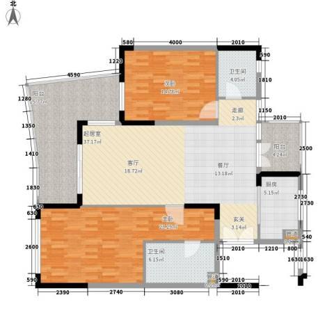 龙光・阳光海岸2室0厅2卫1厨154.00㎡户型图