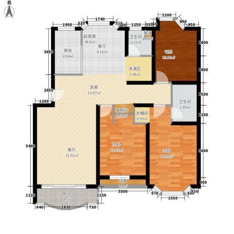 嘉业阳光城3室0厅2卫1厨121.00㎡户型图