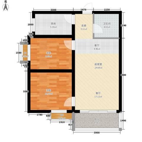 唐乐宫2室0厅1卫1厨70.00㎡户型图