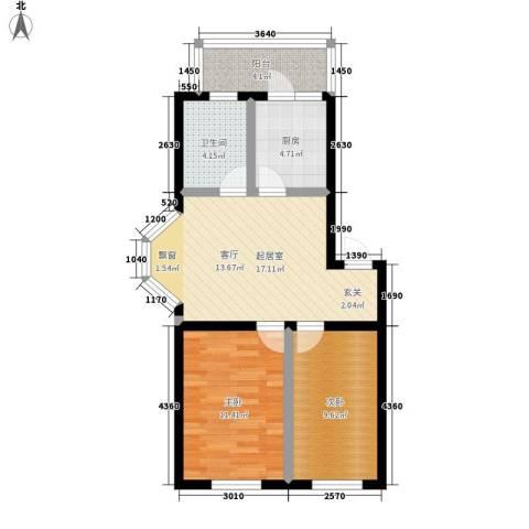 唐城宾馆家属院2室0厅1卫1厨60.00㎡户型图