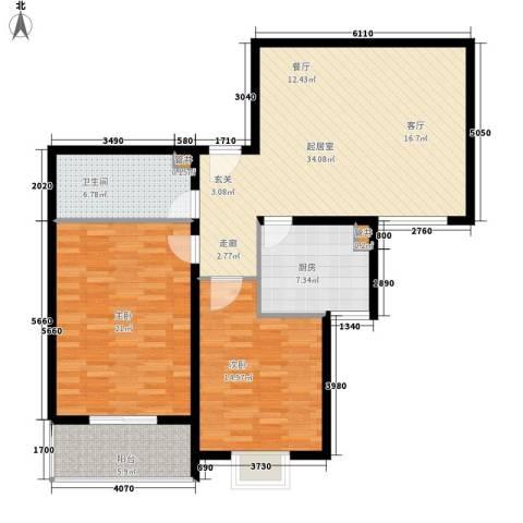 都市邻里2室0厅1卫1厨102.00㎡户型图