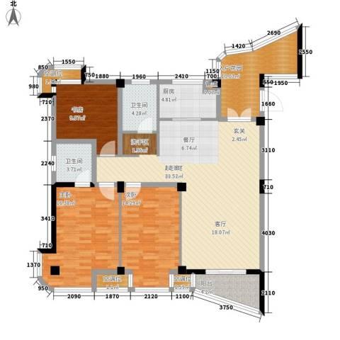 书香园3室0厅2卫1厨128.00㎡户型图