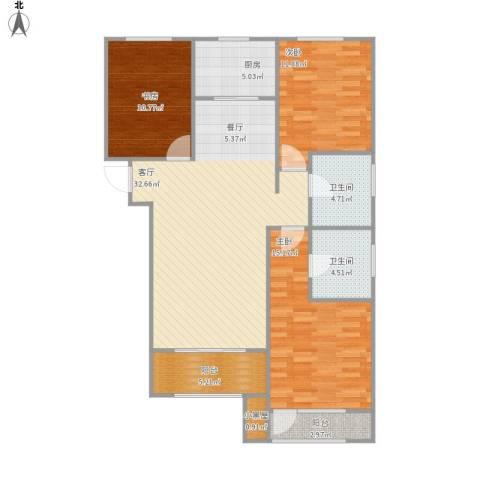 新华联雅园3室1厅2卫1厨127.00㎡户型图