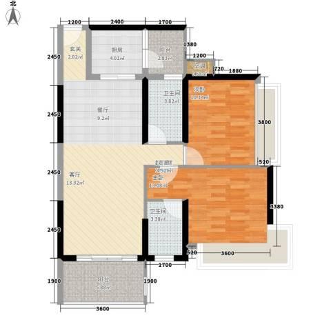 怡安皇庭2室0厅2卫1厨91.00㎡户型图