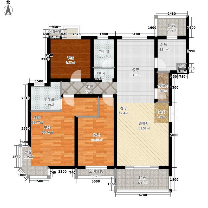 巴黎豪庭130.73㎡D3面积13073m户型