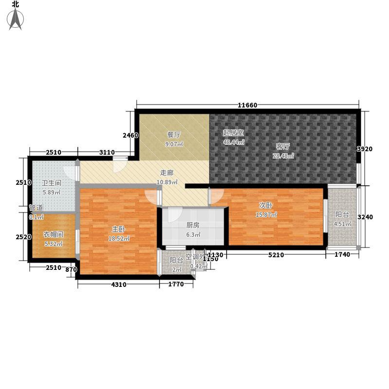 上东三角洲5.60㎡567号楼F户面积12119m户型
