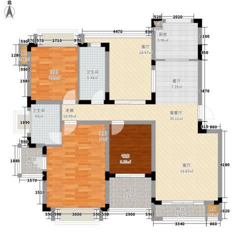 同景国际城恋山3室2厅2卫1厨108.96㎡户型图
