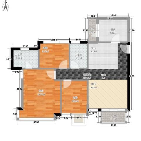 御景花园3室0厅2卫1厨73.00㎡户型图