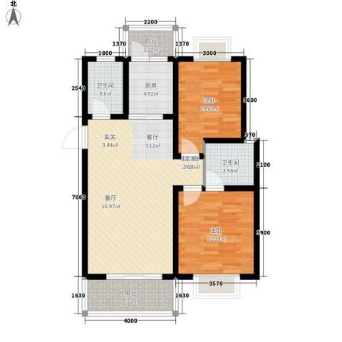 书香园2室0厅2卫1厨100.00㎡户型图
