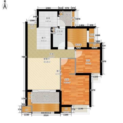 中海胥江府2室1厅1卫1厨86.00㎡户型图