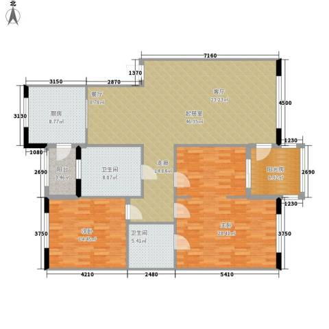 红苹果家园2室0厅2卫1厨131.00㎡户型图