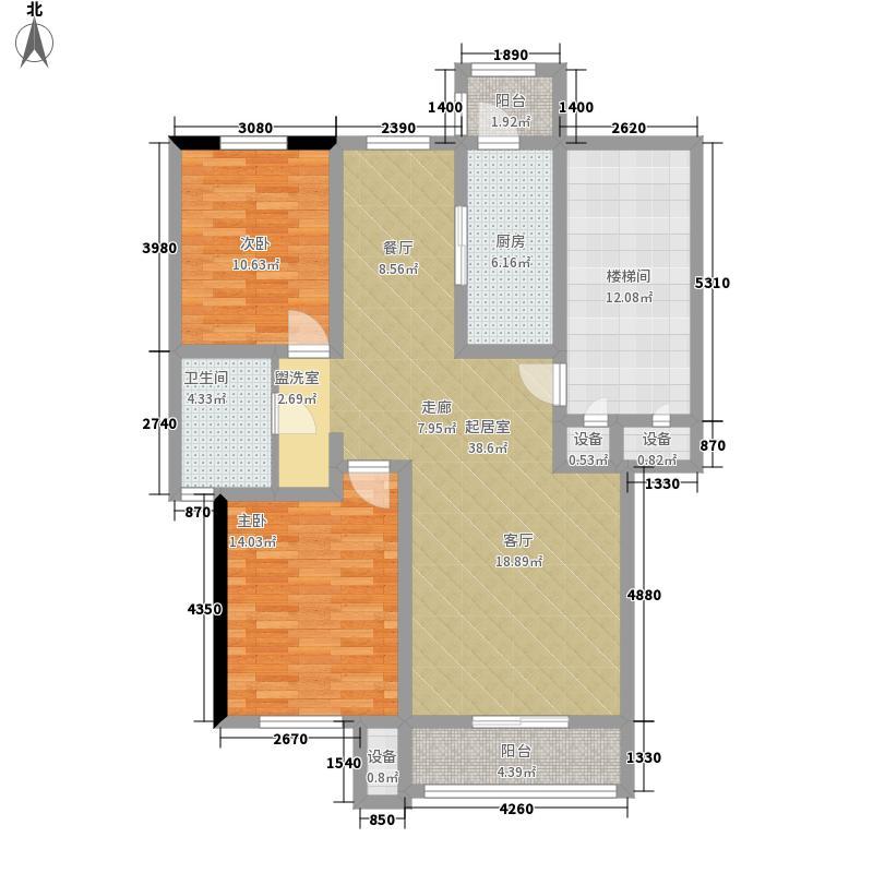 朝阳绿茵 朝阳上品两室两厅一卫 101.16-105.32平户型