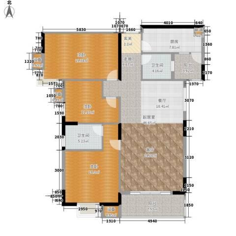 美力盈彩花苑3室0厅2卫1厨140.02㎡户型图
