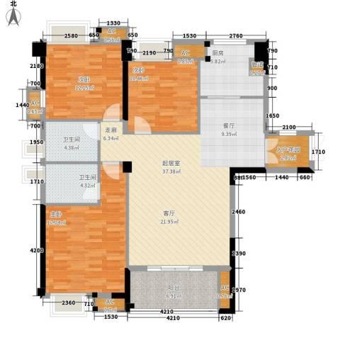 泰禾红树林3室0厅2卫1厨121.00㎡户型图