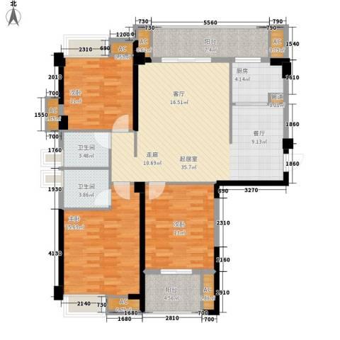 泰禾红树林3室0厅2卫1厨118.00㎡户型图