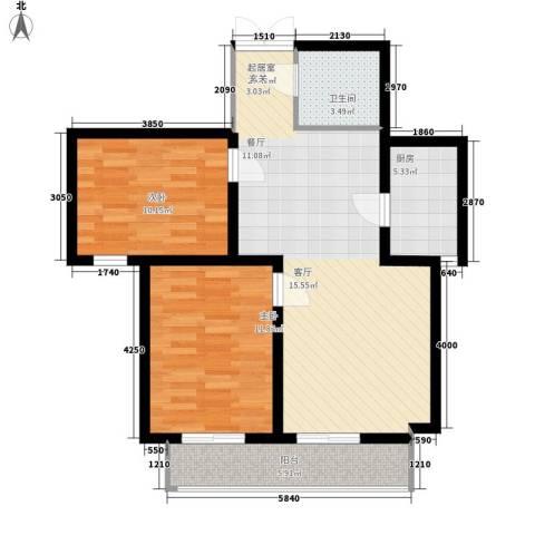 蓝海嘉苑2室0厅1卫1厨90.00㎡户型图