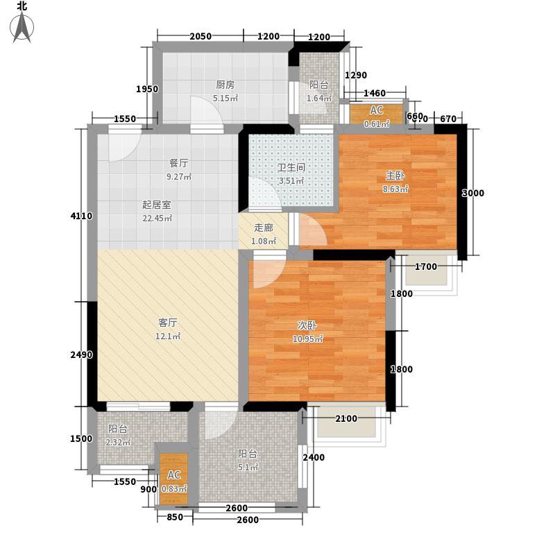 华宇龙湾一期36号楼标准层F5户型2室2厅