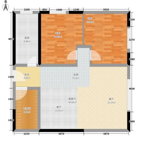 澳城大厦2室1厅1卫1厨94.00㎡户型图