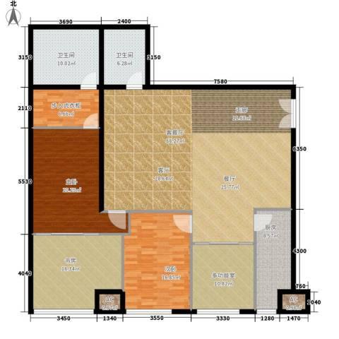 泾渭明珠3室1厅2卫1厨180.00㎡户型图