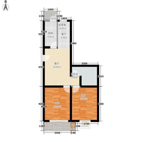 瑞宁嘉园2室0厅1卫1厨75.00㎡户型图