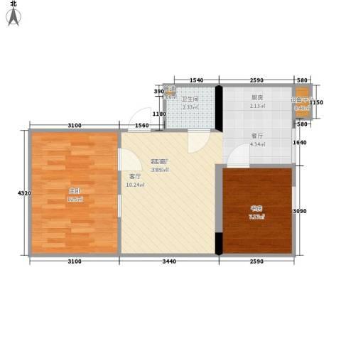 联邦东方明珠2室1厅1卫0厨55.00㎡户型图