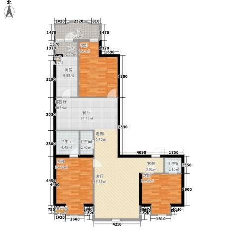 联邦东方明珠3室1厅3卫1厨128.00㎡户型图