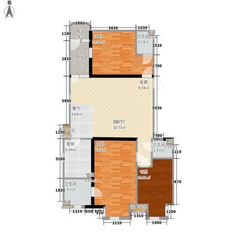 联邦东方明珠3室1厅3卫1厨135.00㎡户型图