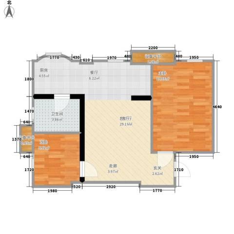 联邦东方明珠2室1厅1卫0厨65.00㎡户型图