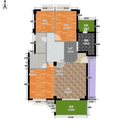 金色华庭3室0厅2卫1厨140.00㎡户型图