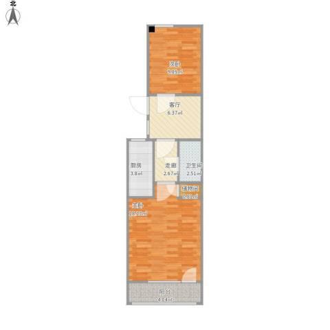 苏州街77号院2室1厅1卫1厨66.00㎡户型图