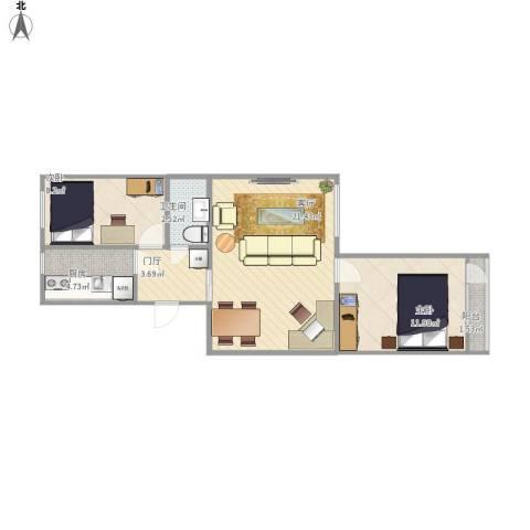 丰台区七里庄路18号院2室1厅1卫1厨74.00㎡户型图
