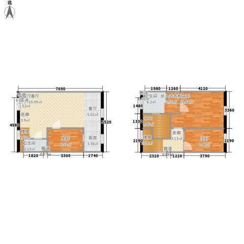 联邦东方明珠3室1厅2卫0厨88.00㎡户型图