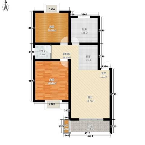 景香苑2室1厅1卫1厨111.00㎡户型图